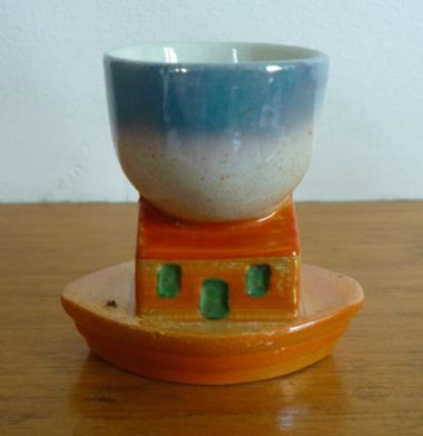 "zz Antique / vintage ""Noah's Ark"" ceramic egg cup - novelty or nursery ware (SOLD)"